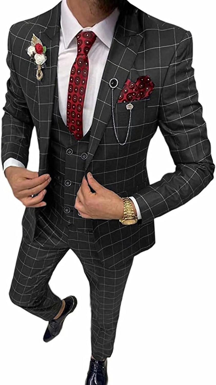 Men's Regular Fit 3 Pieces Suits Formal Business Tuxedos Blazer Vest Pants for Wedding Grooms