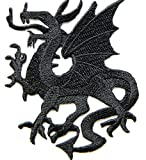 HHO Black Flying Dragon Fire Fantasy Lucky Animal Rider Biker Tatoo Kid Patch Embroidered DIY Patches, Cute Applique Sew Iron on Kids Craft Patch for Bags Jackets Jeans Clothes