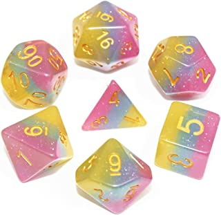 DND Dice Set RPG Dice Pink Blue & Yellow Polyhedral Dice Fit Dungeons and Dragons(D&D) Pathfinder MTG Table Game Role Playing Game Translucent Dice with Silver Glitter