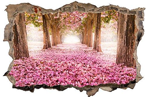DesFoli Frühling Allee 3D Look Wandtattoo 70 x 115 cm Wanddurchbruch Wandbild Sticker Aufkleber D342