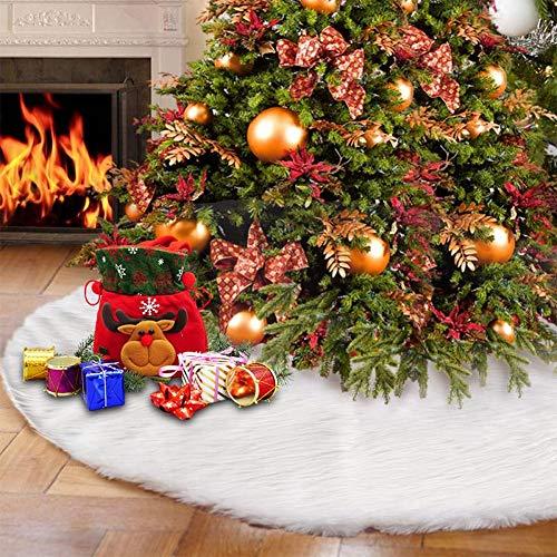Ghopy Weihnachtsbaumdecke Weihnachtsdeko Weihnachtsbaum Schürze Weihnachtsbaum Rock Plüsch Christmasbaumdecke Weihnachten Weihnachtsfeiertag Party Urlaubsdekorationen (122cm)