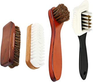 Homend 4 Pcs Shoe Brush,Horsehair Shoe Shine Brush Kit,Shoe Brush Set,Shoe Polising Dauber,Multifunctional Shoe Cleaning and Shine Brush Kit,Crepe Suede Shoes Brush for Shoes,Leather,Boot,Cloth