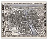 Vintage Paris Map Wall Art Print - (11x14) Photo Unframed Make Great Room Wall Decor Gift Idea Under $15