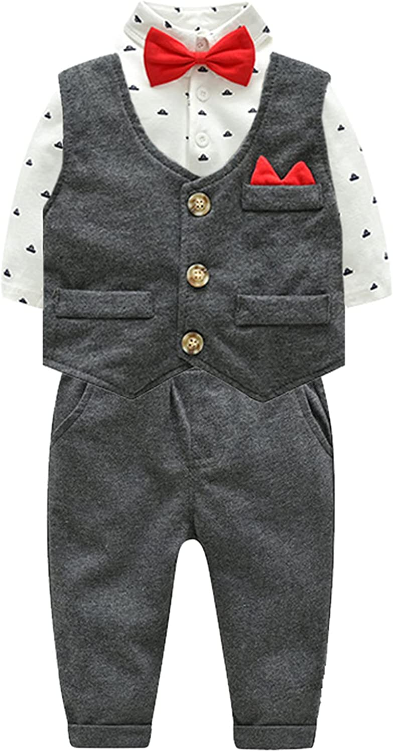 YEAHDOR Challenge the lowest price 4Pcs Toddler Baby Boy with Bombing free shipping Outfit Gentleman Formal Shirt