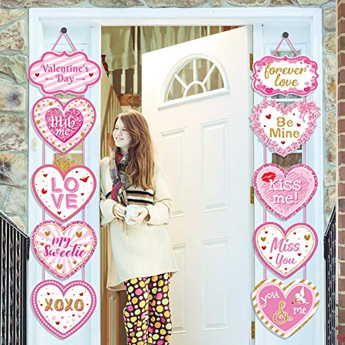 Valentine's Day Heart Banner, Valentines Day Door Decoration of Pink Heart Hanging Vertical Sign, Valentine's Day Porch Sign, Valentines Day Banner for Home Door Decorations