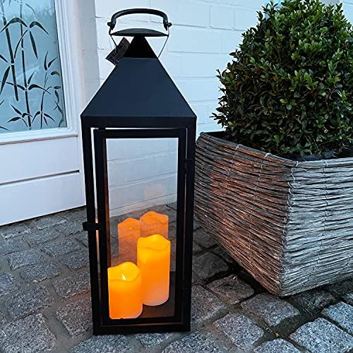 INDA-Exclusiv Große Luxus Gartenlaterne aus Metall Windlicht Laterne Glas schwarz H54 cm