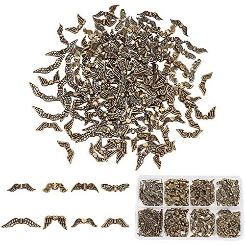 PandaHall 160 cuentas espaciadoras de alas de 8 estilos, cuentas tibetanas de ala de ángel de bronce antiguo, espaciadores para pendientes, pulseras, collares, joyas, manualidades
