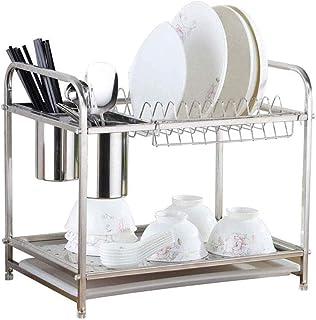 rangement et organisation de cuisine Vaisselle Etendoir, 2 Tier Égouttoir en acier inoxydable for la cuisine Fournitures é...
