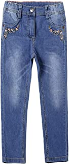 Toddler Girls Floral Embroidered Print Jeans Adjustable Waist Slim Fit Classic Denim Pants Size 6M-4T