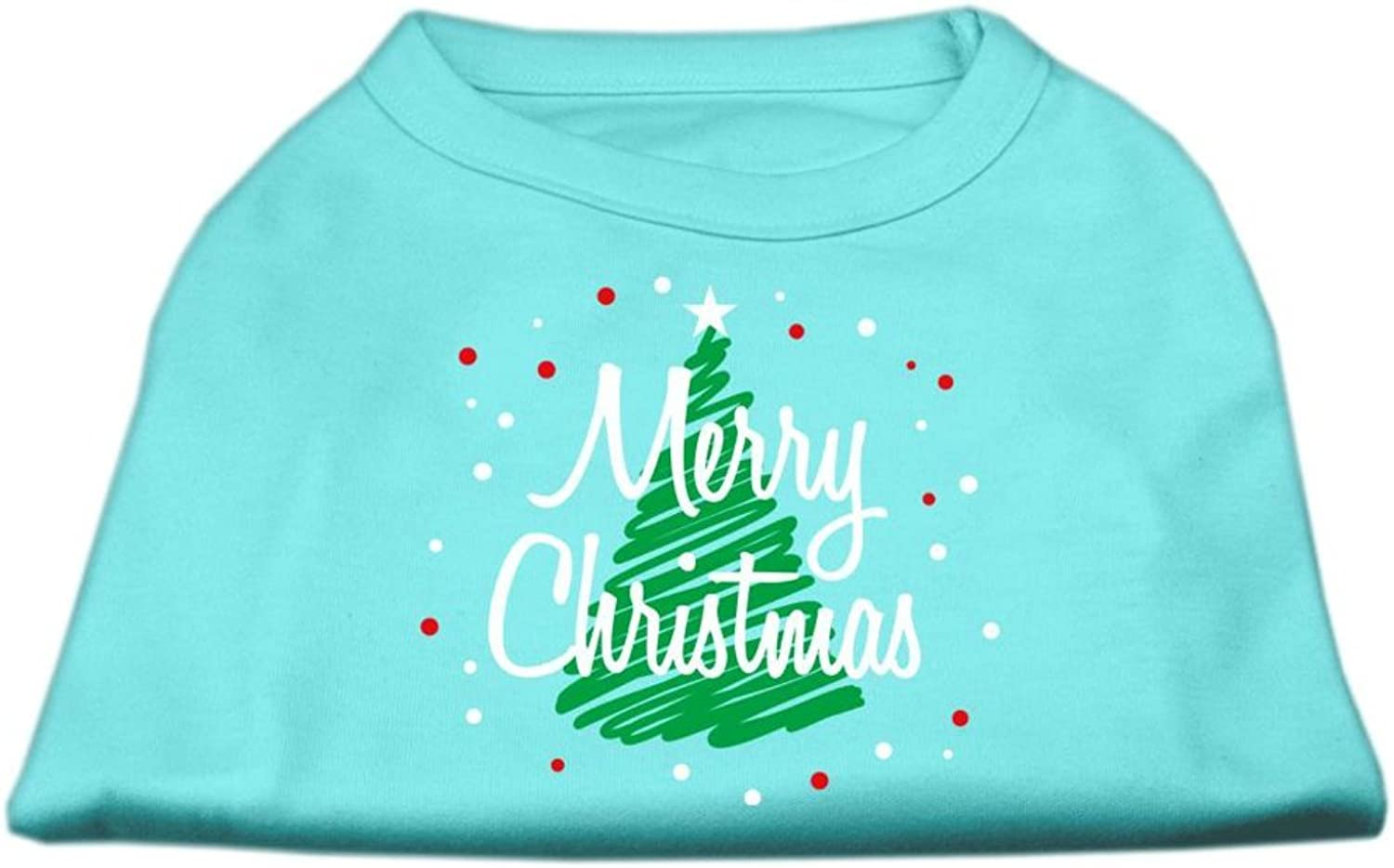 Dog   Cat   Pet Charms Scribbled Merry Christmas Screenprint Shirts Aqua XXL (18)