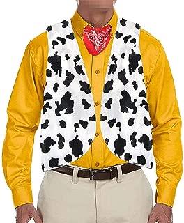 Men's Cow Print Adult Festival Vintage Hippie Costume Vest