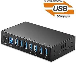 USB 3.0 Hub, Onvian 7-Port Powered USB 3.0 Hub Aluminum High Speed USB 3.0 Splitter with LEDs and Mounting Brackets