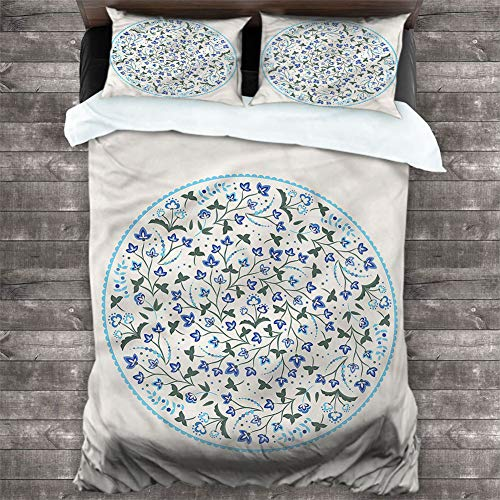 CAJISO Bed Sheet Set Jacobean,Round Frame Floral Stems Decorative 3 Piece Bedding Set with 2 Pillow Shams Brushed Microfiber Bedding, Twin 68'x90'