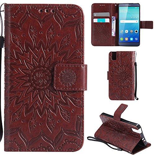 Ooboom® Huawei ShotX Hülle Sonnenblume Muster Flip PU Leder Schutzhülle Handy Tasche Hülle Cover Stand mit Kartenfach für Huawei ShotX - Braun