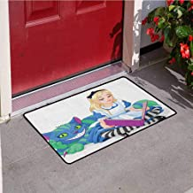 in Wonderland Inlet Outdoor Door mat Alice Reading Book Cat Colorful World Happiness Love Character Image Catch dust Snow and mud W29.5 x L39.4 Inch Multicolor
