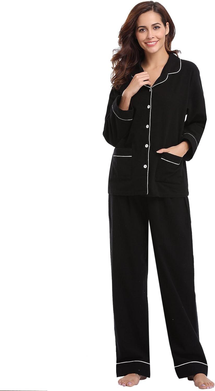 Aibrou 100% Cotton Womens Pajamas Set Long Sleeves with Pants Flannel Pj Set