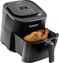 NuWave Brio 6-Quart Air Fryer with App Recipes (Black) includes basket divider, one-touch digital controls, 6 easy presets...