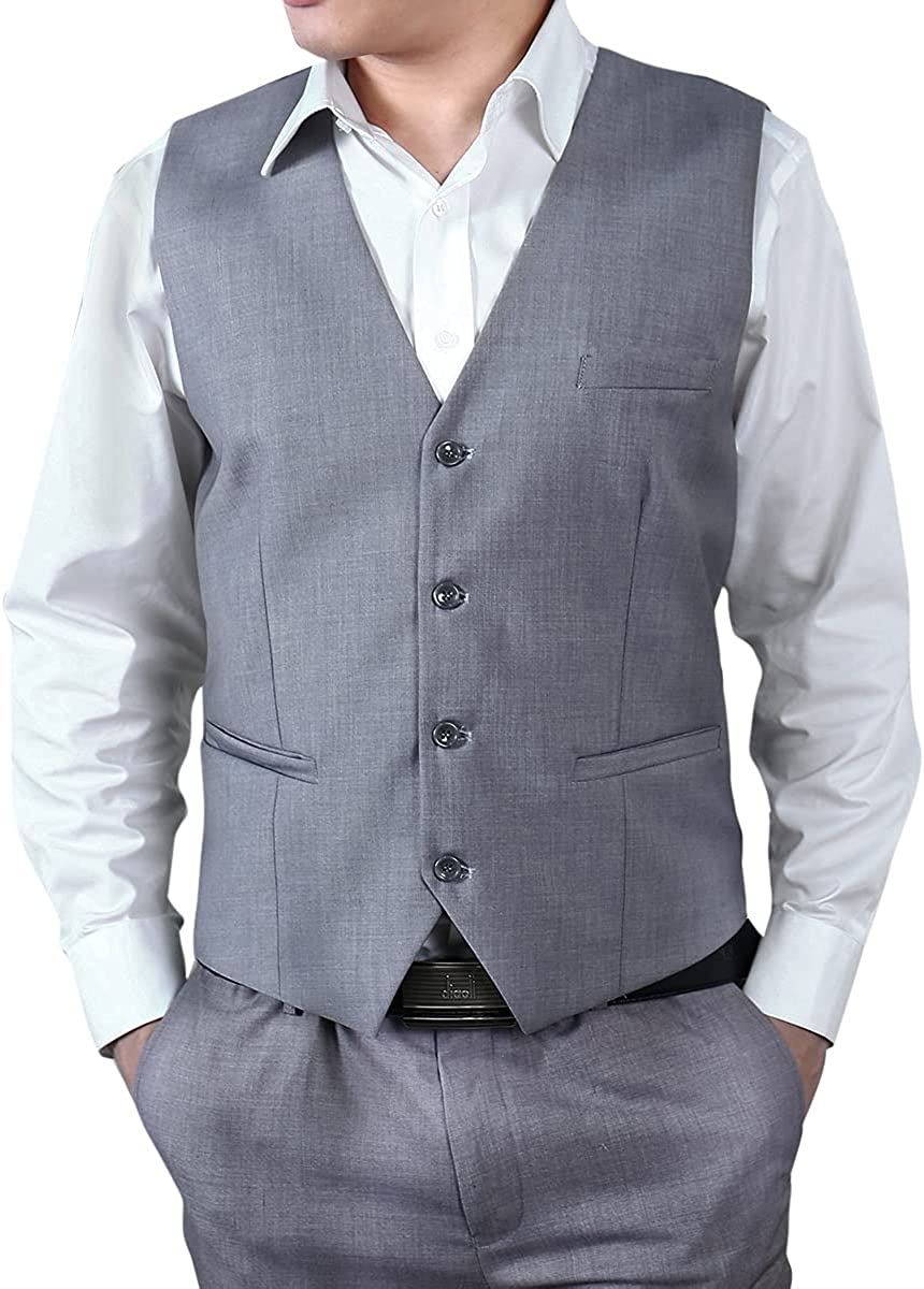Mens Formal Dress Suit Vest V-Neck Single Breasted Wedding Tux Waistcoat