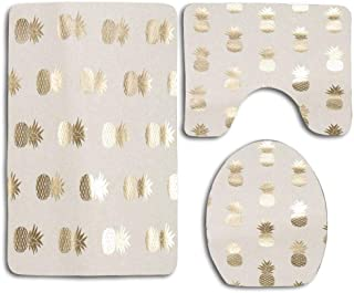 Bath Mat Sets Contour Rug Metallic Pineapple Gold U-Shaped Toilet Lid Cover,Non Slip,Machine Washable,3-Piece Rug Set Easier to Dry for Bathroom