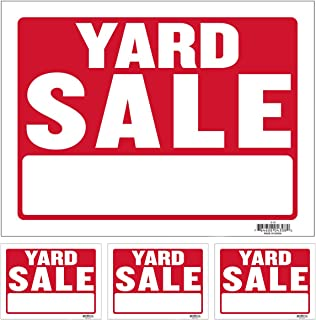 """Kicko Yard Sale Sign - Pack of 4 12"""" X 16"""" All-Weather Plastic Coated Tags for Car Sales, Advertising Signage, Business Pu..."""
