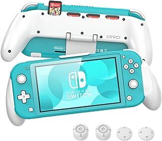 OIVO Grip pour Nintendo Switch Lite Poignée ergonomique asymétrique avec support réglable amélioré et 4 emplacements de je...