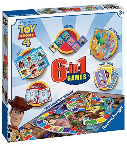Ravensburger Disney Toy Story 4, juego 6 en 1 para niños y familias a partir de 3 años – Incluye 6 juegos clásicos: bingo, memoria, dominóes, serpientes y escaleras, damas y cartas de juego