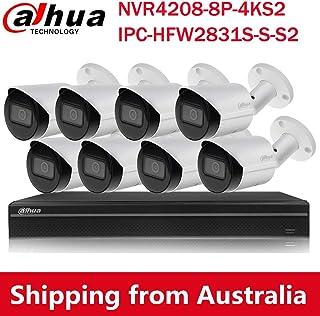 Dahua 4K(8MP) 8CH PoE Home Security Camera System, 8MP Startlight Outdoor PoE IP Cameras, 4K 8-Channel NVR (NVR4208-8P-4KS...