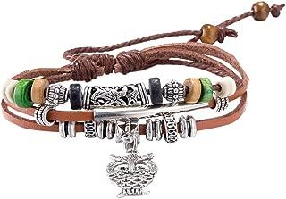 yixuyu ni/ña de estrella de mar pulsera de mu/ñeca con banda y Multi Dijes trenzado de piel estilo Vintage hecho a mano