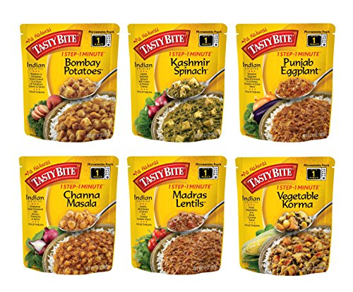 Tasty Bite Indian Entree Variety Pack 10 Ounce 6 Count, Fully Cooked Indian Entrées, Includes Bombay Potatoes, Kashmir Spinach, Punjab Eggplant, Channa Masala, Madras Lentils, Vegetable Korma