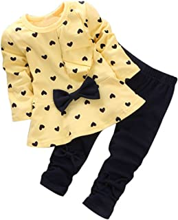 Ropa Bebe Niñas Otoño Invierno,Fossen 2PCS/Conjunto Recién Nacido Bebé Niñas Impresión Arco Camiseta de Manga Larga + Pant...