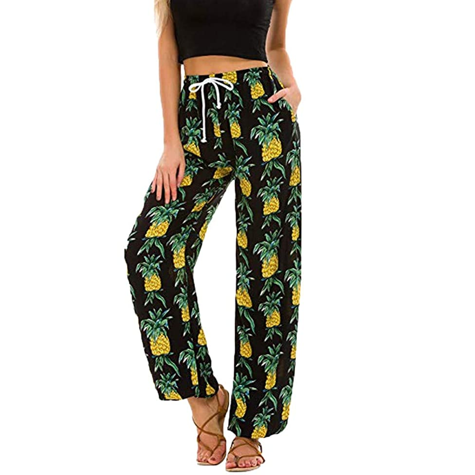 Womens Palazzo Lounge Pants Pineapple Print Tie Bow High Waist Cropped Pant Wide Leg Capri Culottes Trousers Loose Flowy Summer Casual Yoga Workout Pants