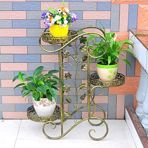 Udfybre Rack de Fleurs en Fer européen Simple Type de Plancher en Plusieurs étages (Couleur : Green Bronze)