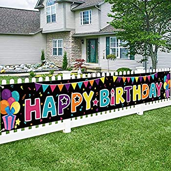 Bunny Chorus 9.8 x 1.6 ft Large Happy Birthday Banner Birthday Yard Signs Birthday Backdrop for Birthday Party Decorations Supplies Black