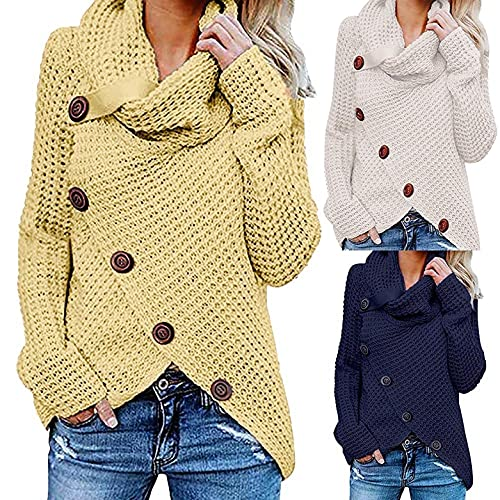 Gersey de Invierno Mujer Jersey Blanco Mujer Jersey Dobladillo Asimétrico Suéter Irregular Collar de la Pila Tops Abrigo Jersey Mujer Invierno de Color Sólido Otoño Blanco/Amarillo/Armada S-5xl