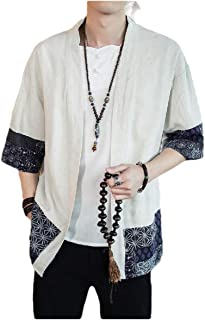 neveraway Mens Cardigan Chinese Style Print Linen Coat 3/4 Sleeve Parka Jackets