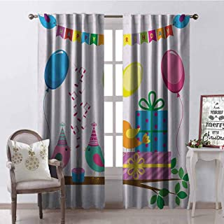 GloriaJohnson Kids Birthday Shading Insulated Curtain Singing Birds Happy Birthday Song Flags Cone Hats Party Cake Celebration Soundproof Shade W42 x L84 Inch Multicolor
