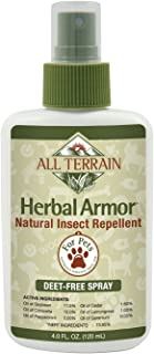 All Terrain Pet Herbal Armor DEET-Free Insect Repellent, 4oz, Natural Essential Oils Based Formula, Great for Camping & Outdoor Activities