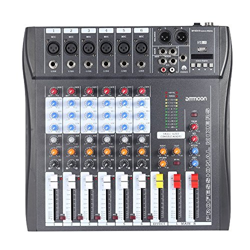 ammoon der 60er Jahre-USB-6 Kan?le Mic Audio Mixer Mixing Konsole 3-Band EQ USB-XLR Eingang 48V Phantom Power mit Netzteil