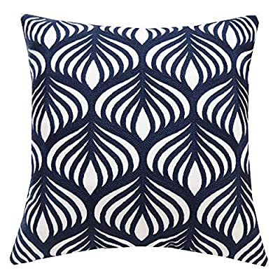 Embroidered Modern Geometric Accent Pillow Cover