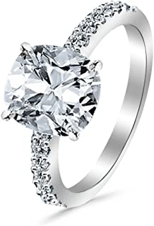 1.3 Cttw 14K White Gold Cushion Cut Classic Side Stone Pave Set Diamond Engagement Ring with a 1 Carat I-J Color VS1-VS2 Clarity Center