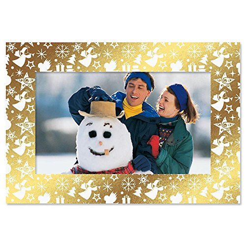 Deluxe Christmas Card Photo Frames – Gold Foil Border, Set of 18 Cards and Envelopes, Fits 4 x 6-inch Photos, by Current