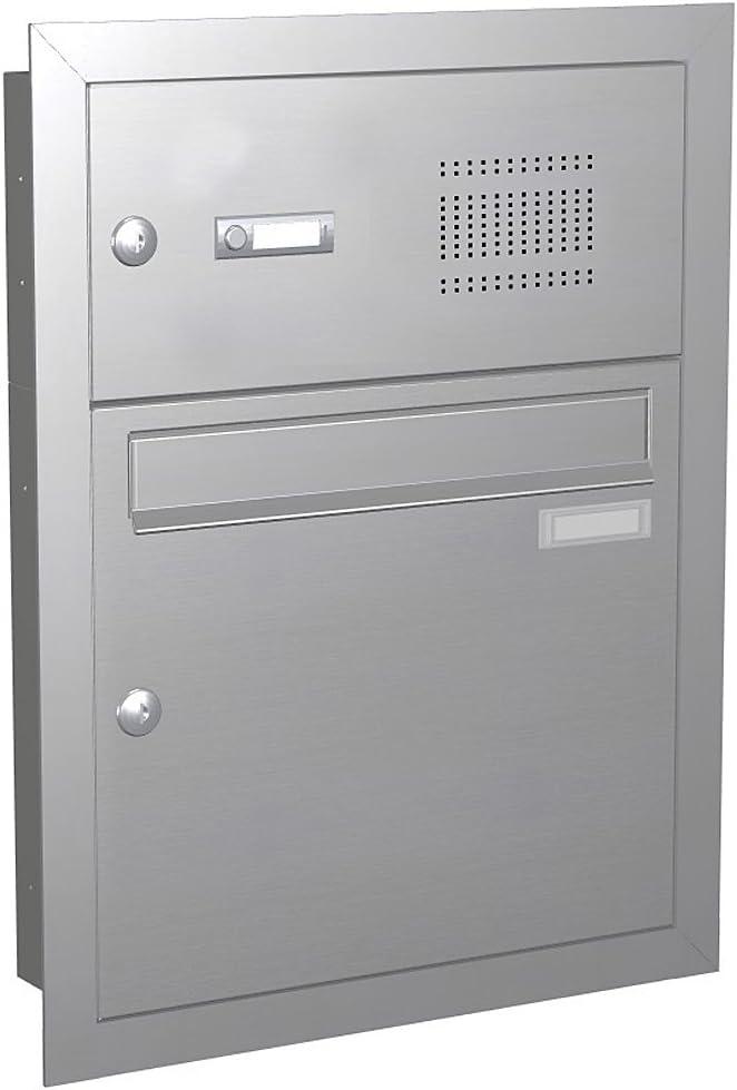 Max Knobloch Edelstahl Unterputzbriefkasten mit Klingel (12 Liter) UP11-110-E Edelstahl gebürstet - Briefkasten Türsprechanlage