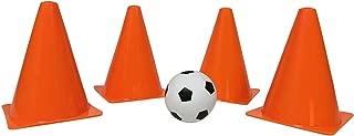 Fun Central BC873,4 件 7 英寸橙色公路珠足球,交通锥球,圆锥钻,敏捷圆锥运动场训练足球,橄榄球,曲棍球曲棍球
