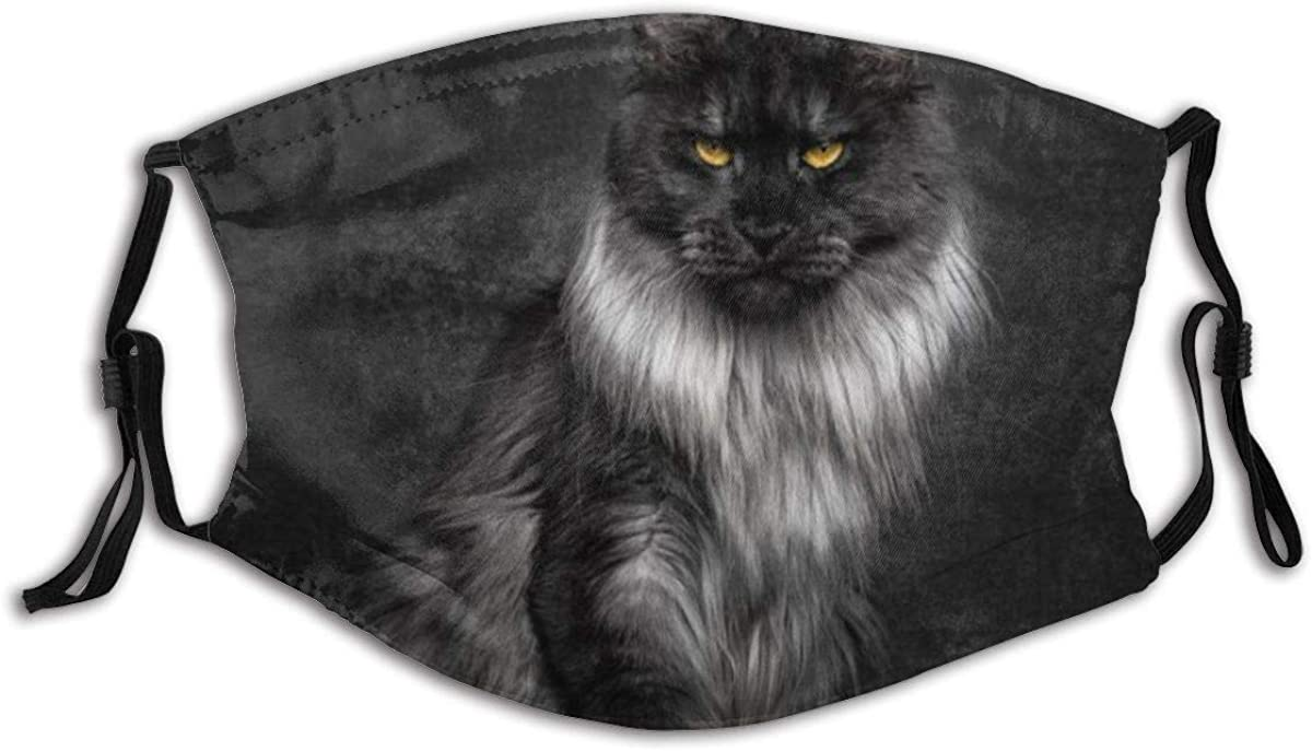 VAMIX Face Cover Cute Black Maine Coon Cat Standing Chair On Black Dark Background Balaclava Unisex Reusable Windproof Anti-Dust Mouth Bandanas Camping Motorcycle Running