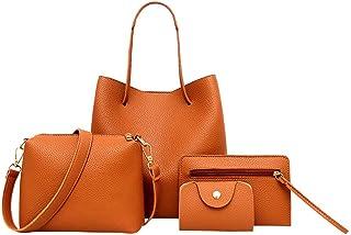 Fankle Women Tote Bags Set, 4 Pcs, Large Handbag, Shoulder Bag, Messenger Bag, Card Pack