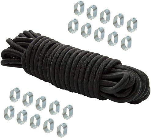 Cuerda expansora 20 m negro 8 mm cuerda elástica cuerda elástica cuerda de tensión lona lona + 20x clip 8 mm galvanizado