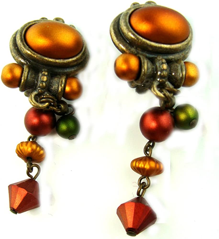 Antiqued Tarnished Look Multi Colored Drop Dangle Clip On Earrings