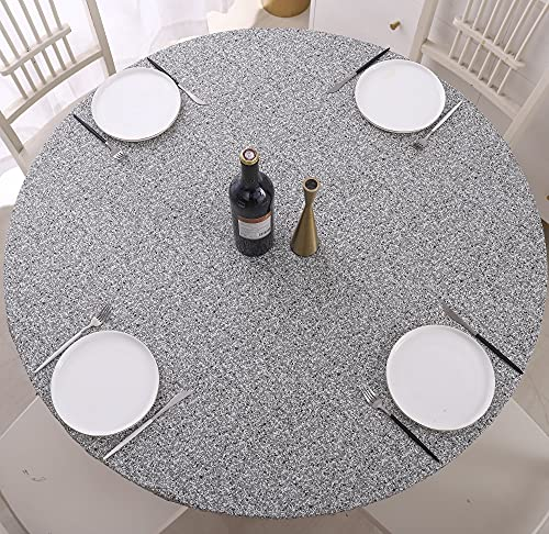 Round Vinyl Tablecloth Elastic Edge Flannel Backed Table Cover (Grey, Large Round Fits Table up 45'-56' Diameter)