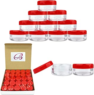 50 New Empty 5 Grams Acrylic Clear Round Jars - BPA Free Containers for Cosmetic, Lotion, Cream, Makeup, Bead, Eye shadow, Rhinestone, Samples, Pot, Small Accessories 5g/5ml (RED LID)