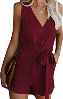 keepwo Women's V Neck Short Dungarees Ladies Cotton Strappy Waist Jumpsuits Playsuit Work Bibs